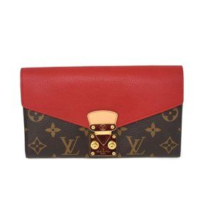 100% Auth Louis Vuitton Pallas Bifold Red Wallet